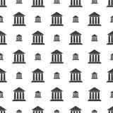 Modèle sans couture avec l'édifice bancaire Photographie stock