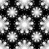 Modèle sans couture avec l'élément de fleur Papier peint abstrait noir et blanc Photographie stock