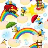 Modèle sans couture avec l'abeille sur l'arc-en-ciel illustration stock