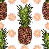 Modèle sans couture avec l'ananas Image libre de droits