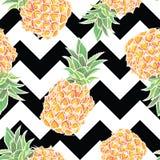 Modèle sans couture avec l'ananas dans le vecteur Photo stock