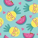 Modèle sans couture avec l'ananas et la pastèque mignons Photo libre de droits