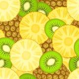 Modèle sans couture avec l'ananas et le kiwi Image stock