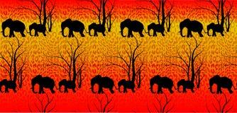 Modèle sans couture avec l'animal mignon, éléphants Le bébé du ` s d'éléphant avec la mère Une promenade dans la savane Illustration Stock