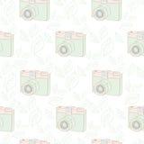 Modèle sans couture avec l'appareil-photo de vintage Photo libre de droits