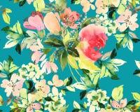 Modèle sans couture avec l'aquarelle de fleurs Photographie stock libre de droits