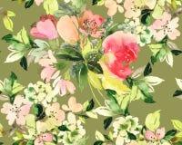 Modèle sans couture avec l'aquarelle de fleurs Photographie stock