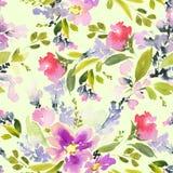 Modèle sans couture avec l'aquarelle de fleurs Image stock