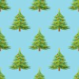 Modèle sans couture avec l'arbre de Noël décoré sur le fond bleu illustration libre de droits