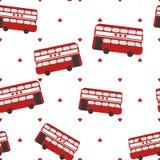 Modèle sans couture avec l'autobus rouge Photos libres de droits