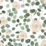 Modèle sans couture avec l'eucalyptus et les roses Ornement floral peint à la main élégant Illustration de vecteur Photos stock