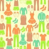Modèle sans couture avec l'habillement Images libres de droits