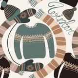 Modèle sans couture avec l'habillement d'hiver Woollies chauds Vêtements pour le temps froid Mitaines, chapeaux, écharpe, chandai Photos libres de droits
