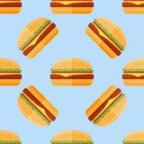Modèle sans couture avec l'hamburger Images libres de droits