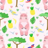 Modèle sans couture avec l'hippopotame dans le style scandinave - illustration de vecteur, ENV illustration stock
