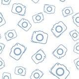 Modèle sans couture avec l'icône d'appareil-photo Photographie stock