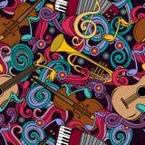 Modèle sans couture avec l'illustration tirée par la main d'instruments de musique de griffonnages de bande dessinée Photo libre de droits