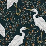 Modèle sans couture avec l'oiseau de héron et l'usine de canneberge Fond botanique rustique illustration libre de droits