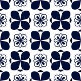 Modèle sans couture avec l'ornement bleu géométrique sur le blanc Images stock