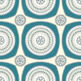 Modèle sans couture avec l'ornement de cercle dans le bleu beige Images libres de droits