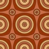 Modèle sans couture avec l'ornement de cercle dans le brun Photo stock