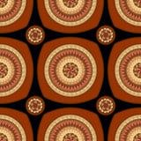 Modèle sans couture avec l'ornement de cercle dans le brun Images libres de droits