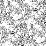 Modèle sans couture avec l'ornement de fruit dans le style de livre de page de coloration illustration libre de droits