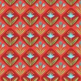 Modèle sans couture avec l'ornement floral sur le rouge Images libres de droits