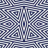 Modèle sans couture avec l'ornement géométrique symétrique Fond rayé d'abrégé sur bleu marine Papier peint répété de triangles Image libre de droits