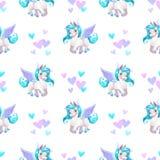 Modèle sans couture avec la bande dessinée mignonne Pegasus illustration stock
