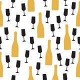 Modèle sans couture avec la bouteille et les verres de champagne Photos libres de droits