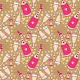 Modèle sans couture avec la bouteille et les verres de champagne pour Noël Photos stock