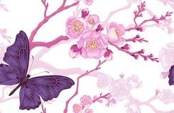 Modèle sans couture avec la branche de papillon et de cerise illustration stock
