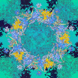 Modèle sans couture avec la chicorée Kaléidoscope rond des fleurs et des éléments floraux Photo libre de droits