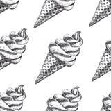 Modèle sans couture avec la crème glacée tirée par la main Photos stock