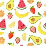 Modèle sans couture avec la décoration de fruit et de baie Wallpaper avec un modèle de pastèque, de banane, de fraise et d'avocat Photo stock