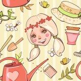 Modèle sans couture avec la demoiselle d'honneur, chapeaux, outils de jardin Images stock