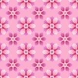 Modèle sans couture avec la disposition commandée des formes géométriques abstraites Image des fleurs sur un fond rose monochrome illustration libre de droits