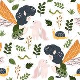 Modèle sans couture avec la fée de forêt et le lapin - illustration de vecteur, ENV illustration de vecteur