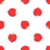 Modèle sans couture avec la feuille rouge tirée par la main d'automne sur le fond blanc Images libres de droits
