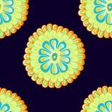 Modèle sans couture avec la fleur abstraite lumineuse tirée par la main Photos libres de droits