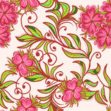 Modèle sans couture avec la fleur rose Images libres de droits
