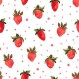 Modèle sans couture avec la fraise rouge tirée par la main d'isolement illus Photos libres de droits