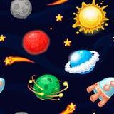Modèle sans couture avec la fusée et les planètes fantastiques illustration stock