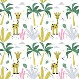 Modèle sans couture avec la girafe et les palmiers Conception de vecteur illustration libre de droits
