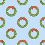 Modèle sans couture avec la guirlande de Noël sur le fond bleu illustration de vecteur