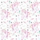 Modèle sans couture avec la licorne de rose d'aquarelle dans le tutu, les plumes et les confettis Image libre de droits