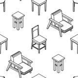 Modèle sans couture avec la ligne chaises isométriques dessinées Fond blanc Photo libre de droits
