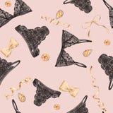 Modèle sans couture avec la lingerie sensible avec les arcs et les pierres précieuses 2 de satin Photo libre de droits