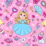 Modèle sans couture avec la petite princesse mignonne Photo stock